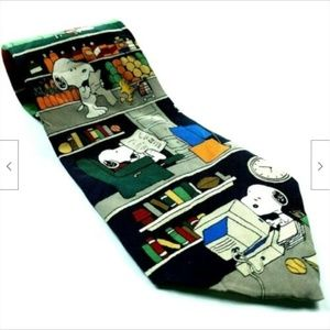 Peanuts Snoopy All In A Day Read Grill Lawn Tie